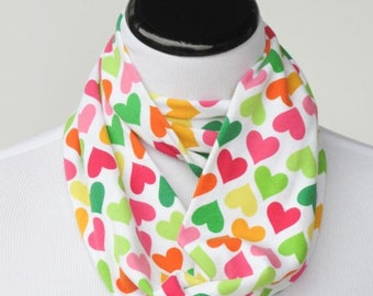 Kids Scarf Hearts Scarf Toddler Scarf Infant Scarf multicolored Infinity Scarf girl boy scarf Valentine day scarf scarf circle loop scarf