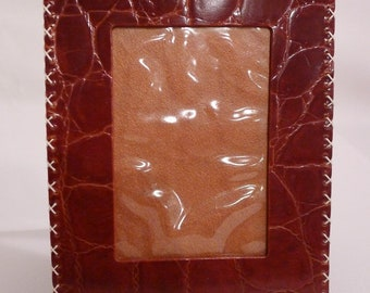 Handmade Vintage Faux Crocodile Embossed Leather Picture Frame by Osprey UK