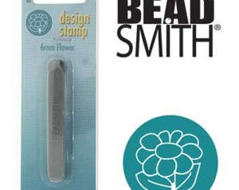 Beadsmith Metal Design Stamp, 6mm Flower  Design Sterling Jewelry Leather Wood PMC