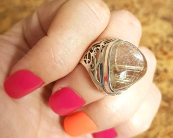 Angel Hair Ring, Adjustable Size, Sterling Silver, Happy Gemstone