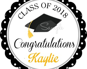 Graduation Stickers, Personalized Graduation Stickers or Gift Tags, Choose your Colors - Set of 12