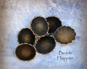12x10mm 10x12mm Oval Lace Edge Cabochon Settings with Antiqued Brass, 1 loop, 2 loops, no loops,12x10 settings, 12x10mm settings, Quantity 6