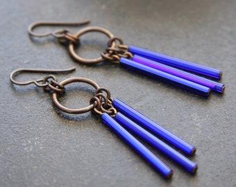 Long Cobalt Blue Vintage Glass Fringe Earrings