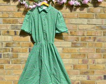 Vintage Green Tea Dress w/ Pockets