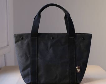 Waxed Canvas Tote Bag, Bag, Vegan bag, Shoulder Bag, Woman bag, MIA black