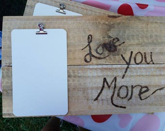 Love you more wooden photo holder