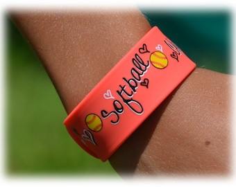 Girls Softball Team Gift - Softball Bracelet - Orange Slap Band w/Ruler - Softball Mom - Softball Player - Softball Gifts - Softball Jewelry