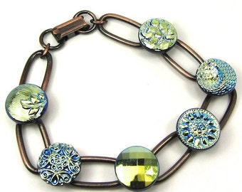 Blue and Black Czech Glass Button Copper Bracelet Free, US Shipping