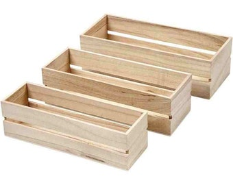 Mini Plain Wooden Fruit Crates - Set of 3 - Small - Boxes - Craft Decorate Display Storage