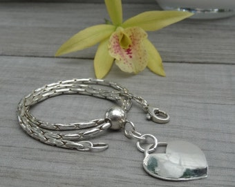 Sterling silver heart necklace. Custom made.