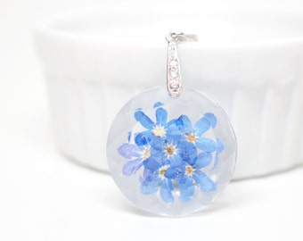 Blue 'forget-me-not' flower necklace - white gold plated silver bail and necklace