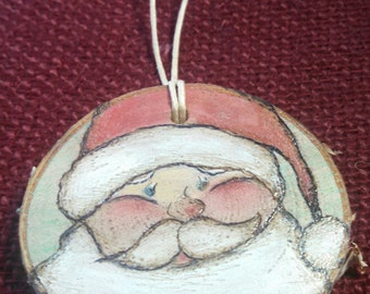 Santa Wood Burned Ornament