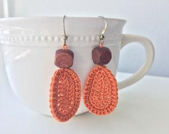 Orange Dangle Earrings, Crochet Earrings, Dangle Earrings, Boho Earrings with wooden bead, Handmade Earrings, Girlfriend Gift