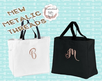 New! Rose Gold Personalized Bridesmaids Gift Tote Bags Monogrammed Tote, Bridesmaid Tote Personalized Tote Wedding Bag, Bridesmaid Gift Bags