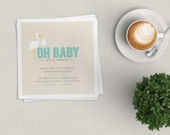 Stork Baby Shower Invitation   Girl, Boy or Gender Neutral   Digital File or Printed Invitations