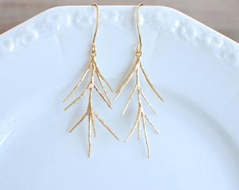 Gold Twig Earrings
