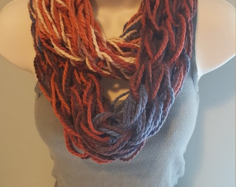 Red & Blue Blend Arm Knit Infinity Scarf