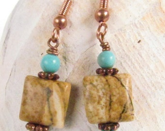 Beaded Earrings, Jasper and Turquoise Howelite with Copper Findings, Harleypaws, SRAJD 2601