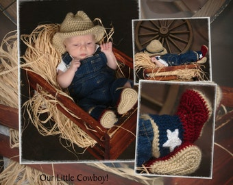 Crocheted Cowboy infant hat & boot set