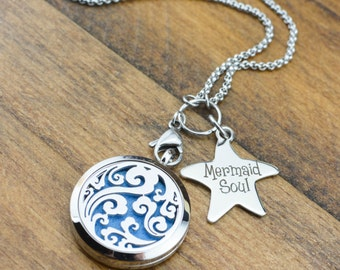 Mermaid Diffuser Necklace - Mermaid Gift for Women - Essential Oil Diffuser Jewelry - Mermaid Necklace for Women - Aromatherapy Necklace