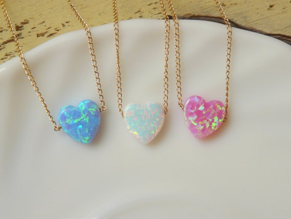 Opal heart necklace valentines day gift opal necklace pink like this item aloadofball Gallery