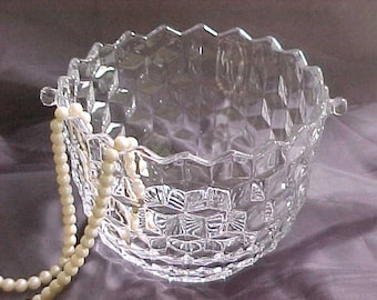 Fostoria American Ice Bucket, Vintage Glass Barware Ice Cube Holder, Mid Century Entertaining Glassware, 1940s Cocktail Hour Bar Accessory