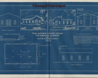 Vintage blueprints etsy type reinforced concrete building for warehouse or storage blueprints wall decor blueprint digital art malvernweather Image collections