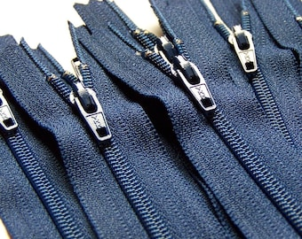 Ten 7 Inch Navy Blue YKK Zippers Color 919