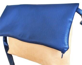 BI-material blue and yellow vegan bag