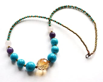 Multi color Chunky stone necklace Turquoise necklace Everyday simple jewellery Glass amethyst brass necklace Casual Beaded jewellery piece