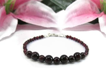 Natural Garnet Bracelet - January Birthstone Bracelet - Beaded Garnet Gemstone Bracelet - Beaded Red Birthstone Bracelet