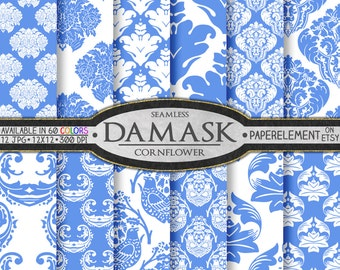 Cornflower Damask Scrapbook Digital Paper Pack  - Printable Backdrops - Instant Download