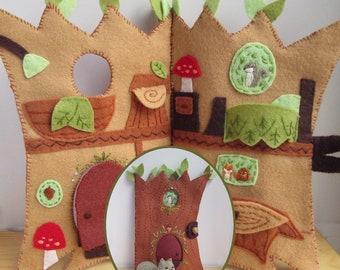 DIY Squirrel's Happy Tree Home felt quiet book PDF sewing pattern felt animals