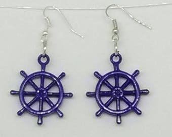 Blue Ship's Wheel Charm Earrings
