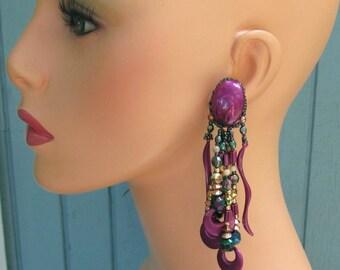 Purple Beaded Chandeliers, Vintage 1980's Pierced Post/Stud Earrings, Multi Color Rainbow Long Hippie Bohemian Jewelry