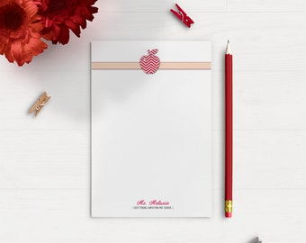 4 Pack! -- Personalized Teachers Stationery, Custom Note Pads -- Apple Chevron Notepads, Teachers Note Pads