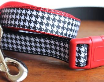 Dog Collar and Leash in Houndstooth, Alabama, Classic Luxury Dog Leash Collar,