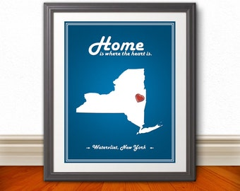 New York - Home Is Where The Heart Is - State Sign - State Print - Custom New York State Print