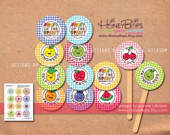 Fruit of the Spirit printable 2 inch circles cupcake toppers, Sunday School Craft - PDF file