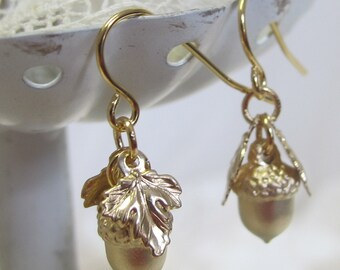 Petite Gold-Plated Acorn Earrings, Civil War Appropriate - Affordable Elegance