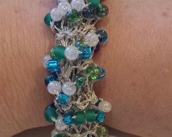 Bracelet Bangle Silver Blue Pearl White Green Navy Teal Aqua Handknitted by hipknitta Gift for Her Gift for Mom