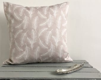 Feather Print Cushion-Grey and White Feather Cushion Cover-Feather Cushion