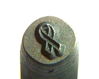6mm Breast Cancer Ribbon Design Stamp - Awareness Ribbon - Ribbon - Metal Stamping Tools - Metal Design Stamps