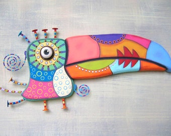 Wild Toucan, Bird Wall Art, Original Found Object Wall Sculpture, Wood Carving, Painted Sculpture, by Fig Jam Studio