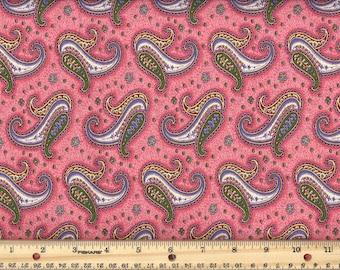 Paisley Dance - Rose  Pink 100% Cotton Fabric fat quarter
