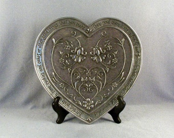 Pewter Heart Plate // Friendship Plate // Raised Design // Inscribed // Home Decor // Wedding Gift