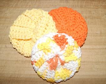 Cotton Crochet Pot Scrubbers- Set of Three, Sunburst