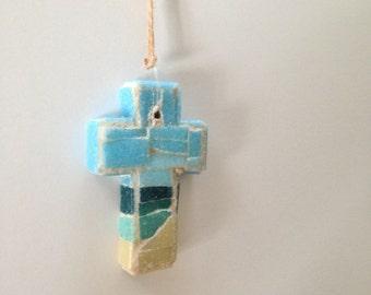 Caribbean Beach Mosaic Wall Cross or Christmas Ornament II