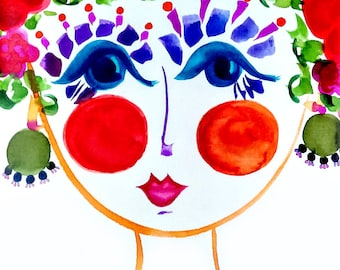 Meet Peony! Portrait of  Flower Girl - Carmen Miranda Inspired Face - Print from Original Watercolor Painting by Suzanne MacCrone Rogers