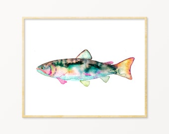 Trout Art Print. Angler Wall Art. Dad Gift. Colorful Trout Painting. Fisherman Art. Lake House Decor. Nature Art. Kids Room Fish Painting.
